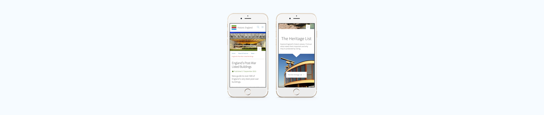 Historic England mobile website screenshots on mobile device