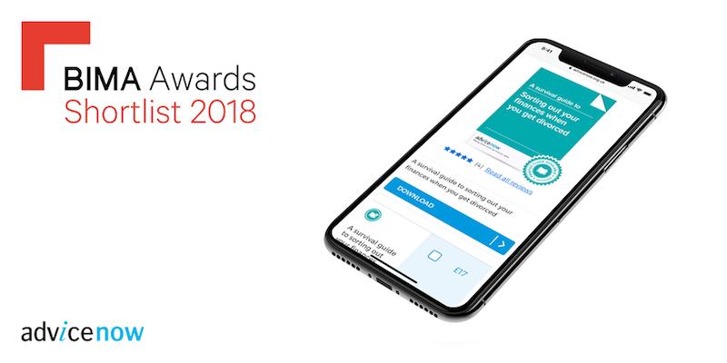 Advicenow website on mobile device with BIMA Awards 2018 Finalist logo